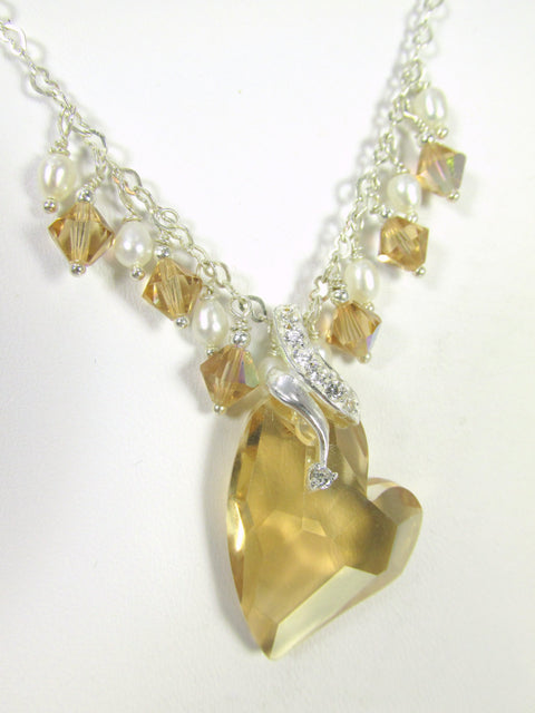 Swarovski Heart Necklace in Golden Shadow with White Freshwater Pearls on all fine sterling silver Bridal or Bridesmaid Necklace - Odyssey Creations