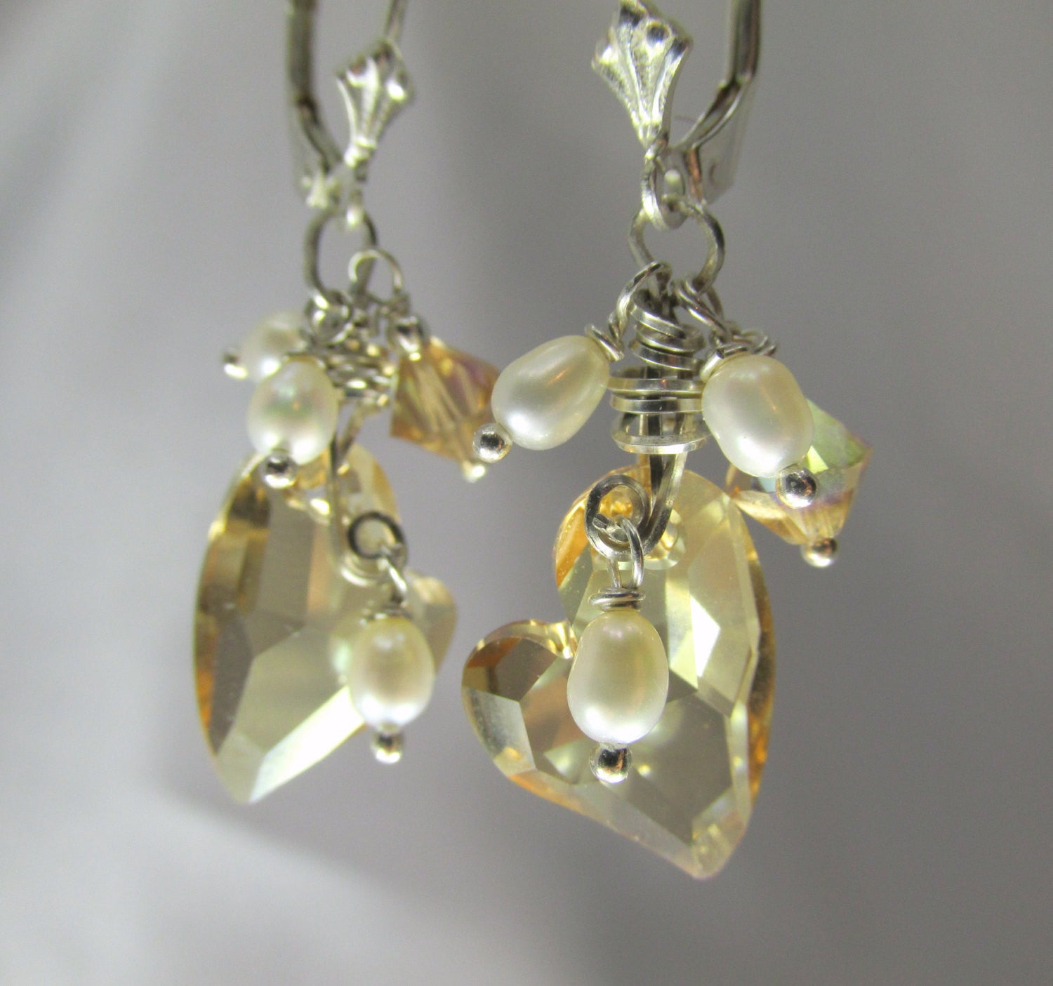Swarovski Heart Earrings in Golden Shadow with wire wrapped White Freshwater Pearls on all sterling silver for Bridal or Bridesmaid - Odyssey Creations