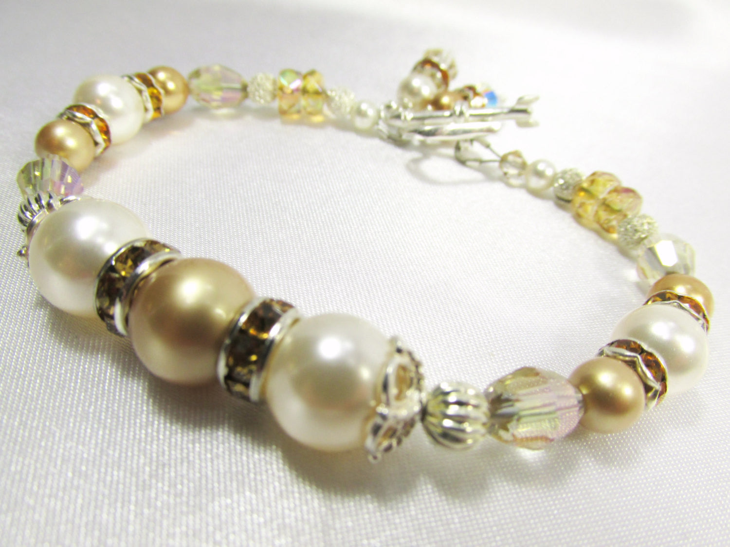 All fine sterling silver Bridal Bracelet in Swarovski White and Gold Pearls and Gold Crystal Beads - Odyssey Creations