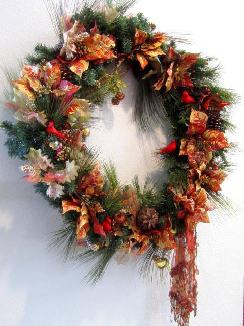 XL Asymetrial Victorian Christmas Wreath Home Decor in Burnt Orange, Red Berries, Cardinals with long beaded fringe bow with fancy trim - Odyssey Creations