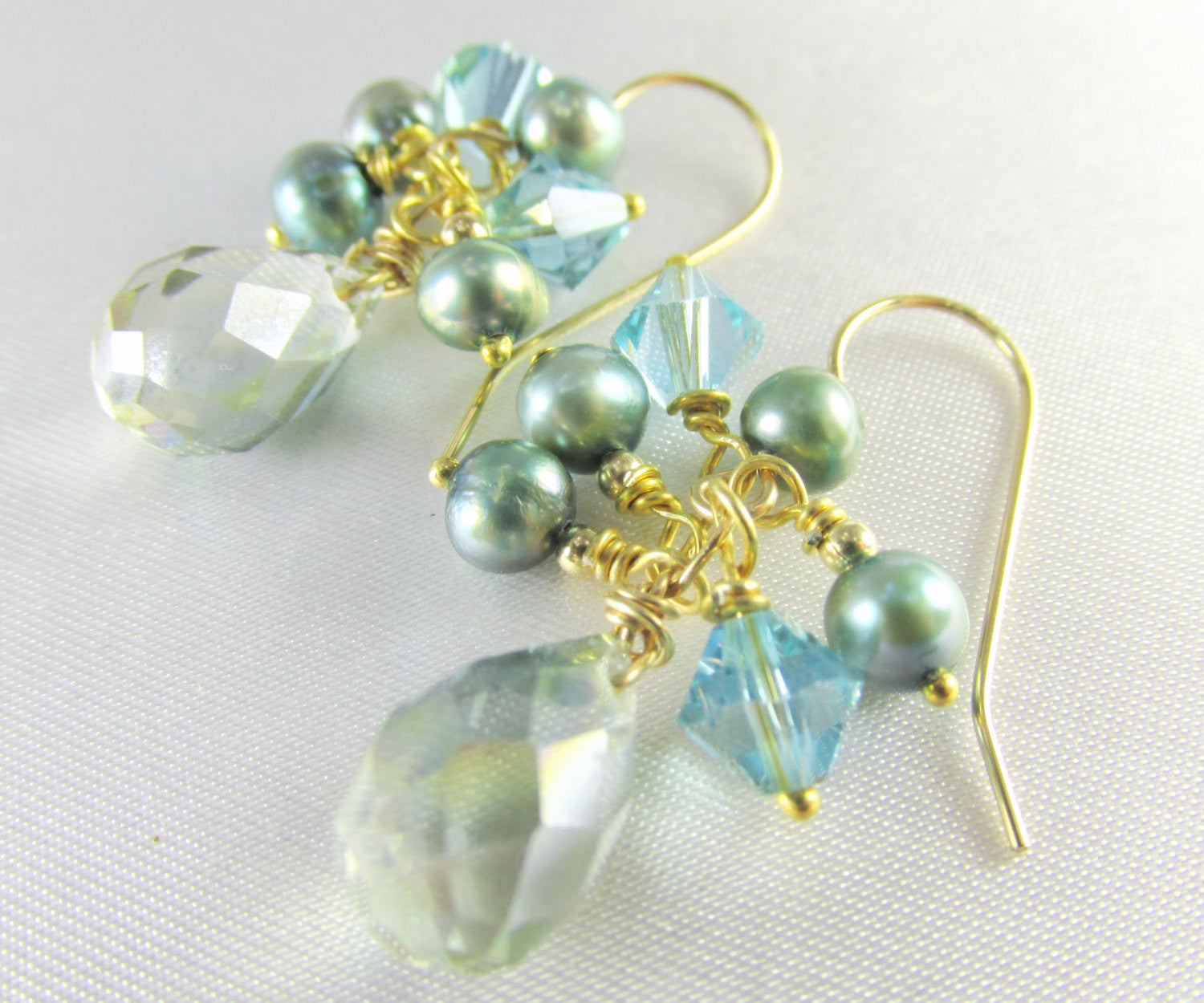 Seaside Aqua Teal Faceted Crystal and Freshwater Pearl Earrings  on 14k Gold Fill - Odyssey Creations