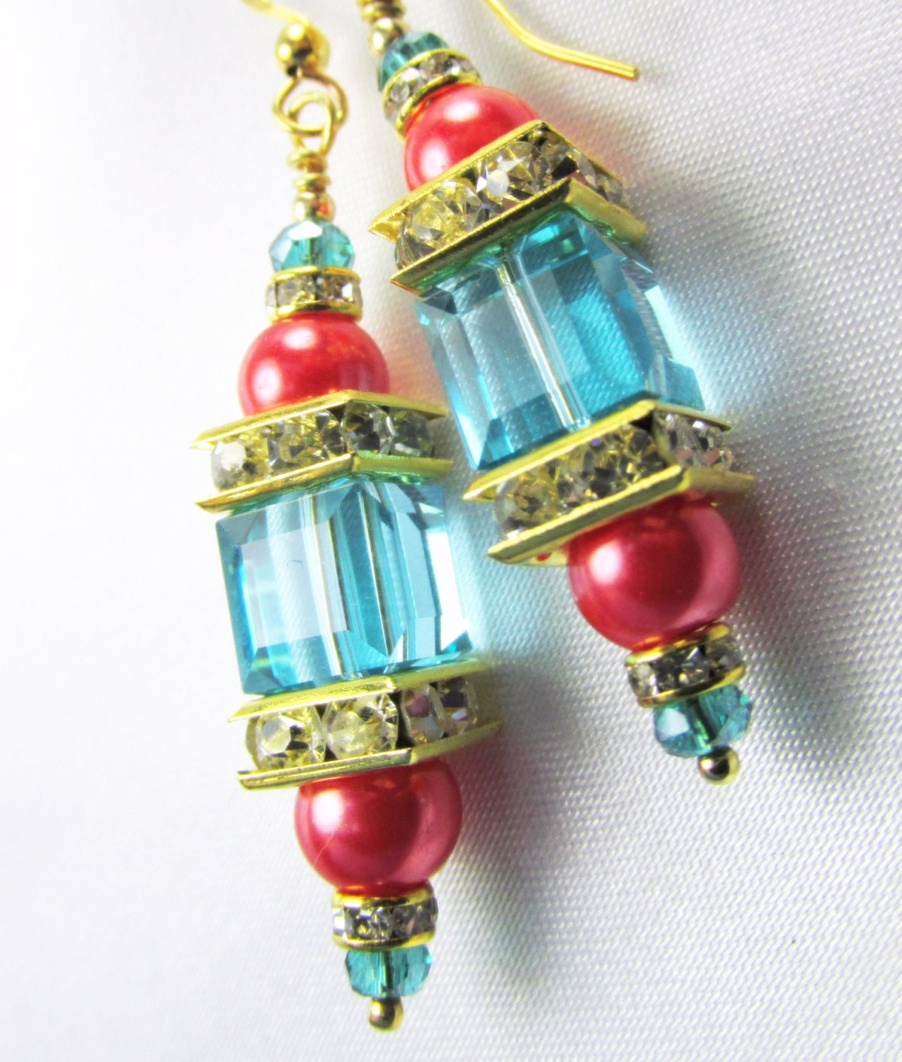 Coral and Blue Turquoise 8mm Faceted Swarovski Cube and Freshwater Pearl Earrings - Odyssey Creations