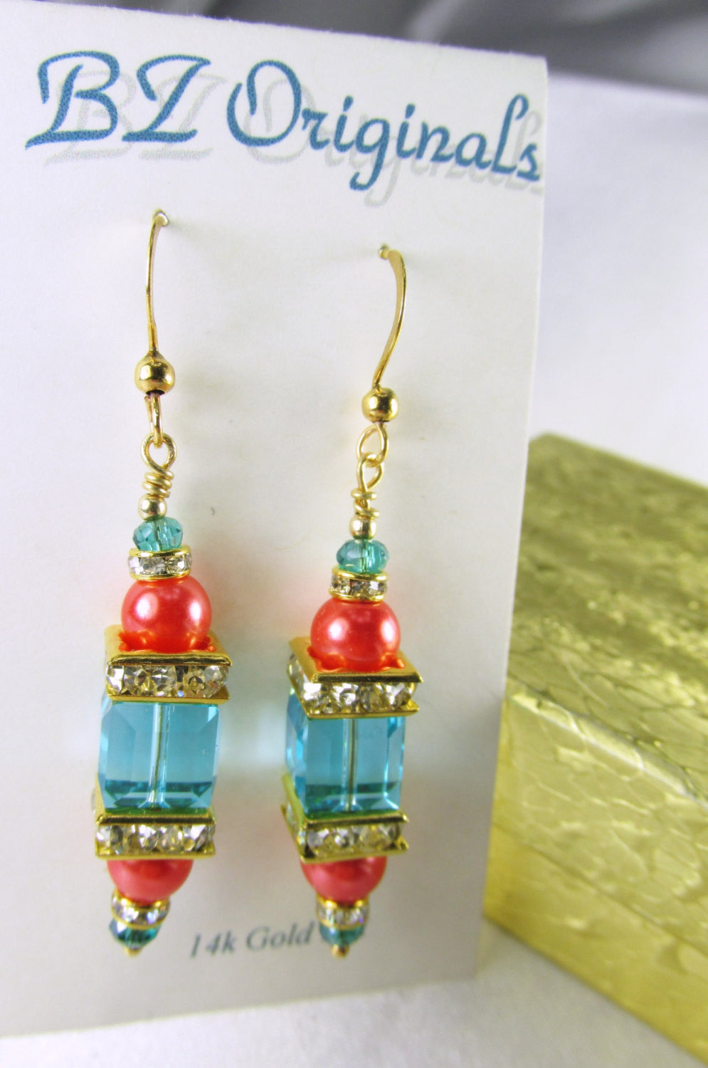Coral and Blue Turquoise 8mm Faceted Swarovski Cube and Freshwater pearl earrings 14k GF wires - Odyssey Creations