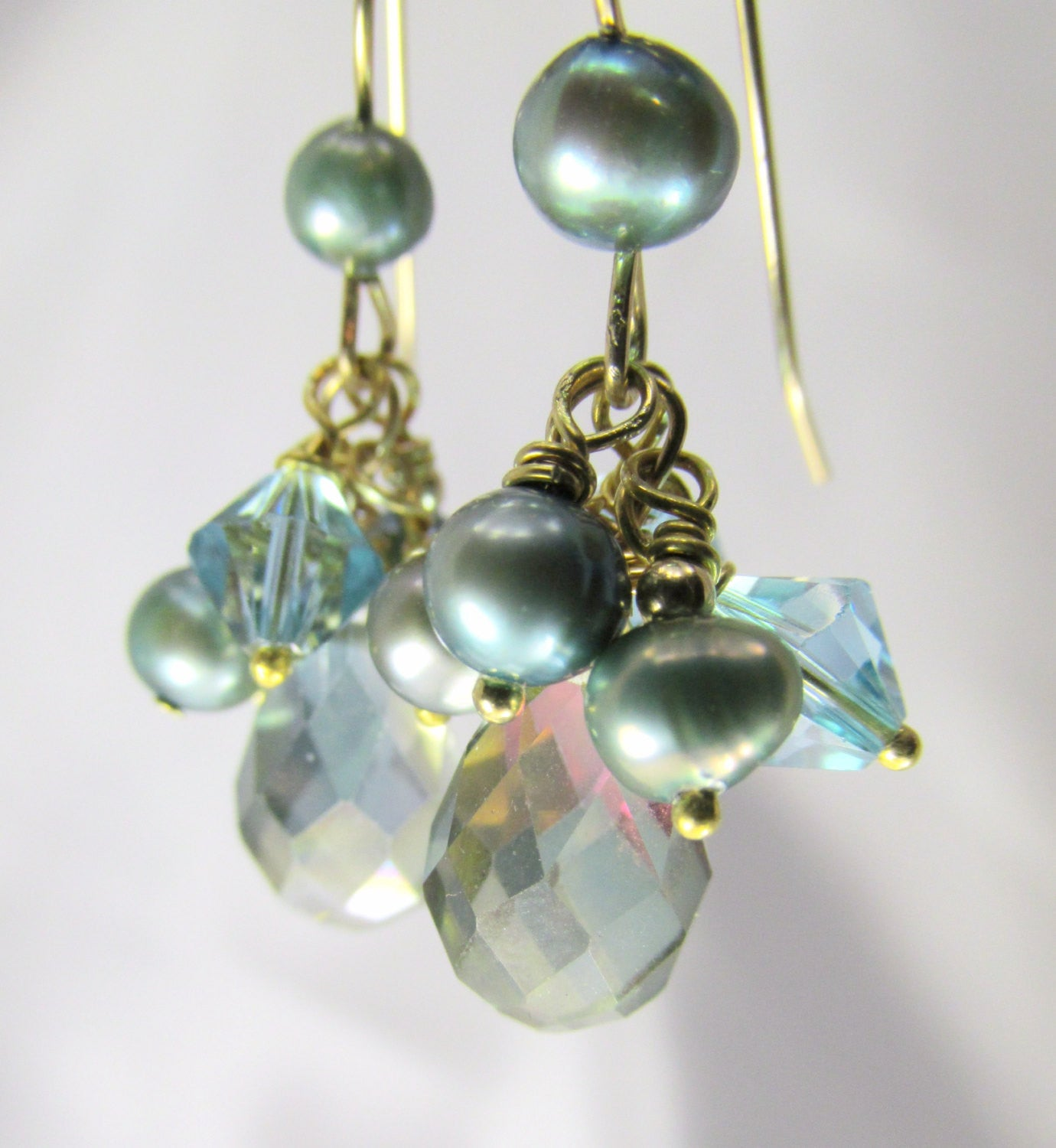 Seaside Aqua Teal Bridal or Bridesmaid Faceted Crystal and Freshwater pearl earrings - all 14k gold fill - Odyssey Creations