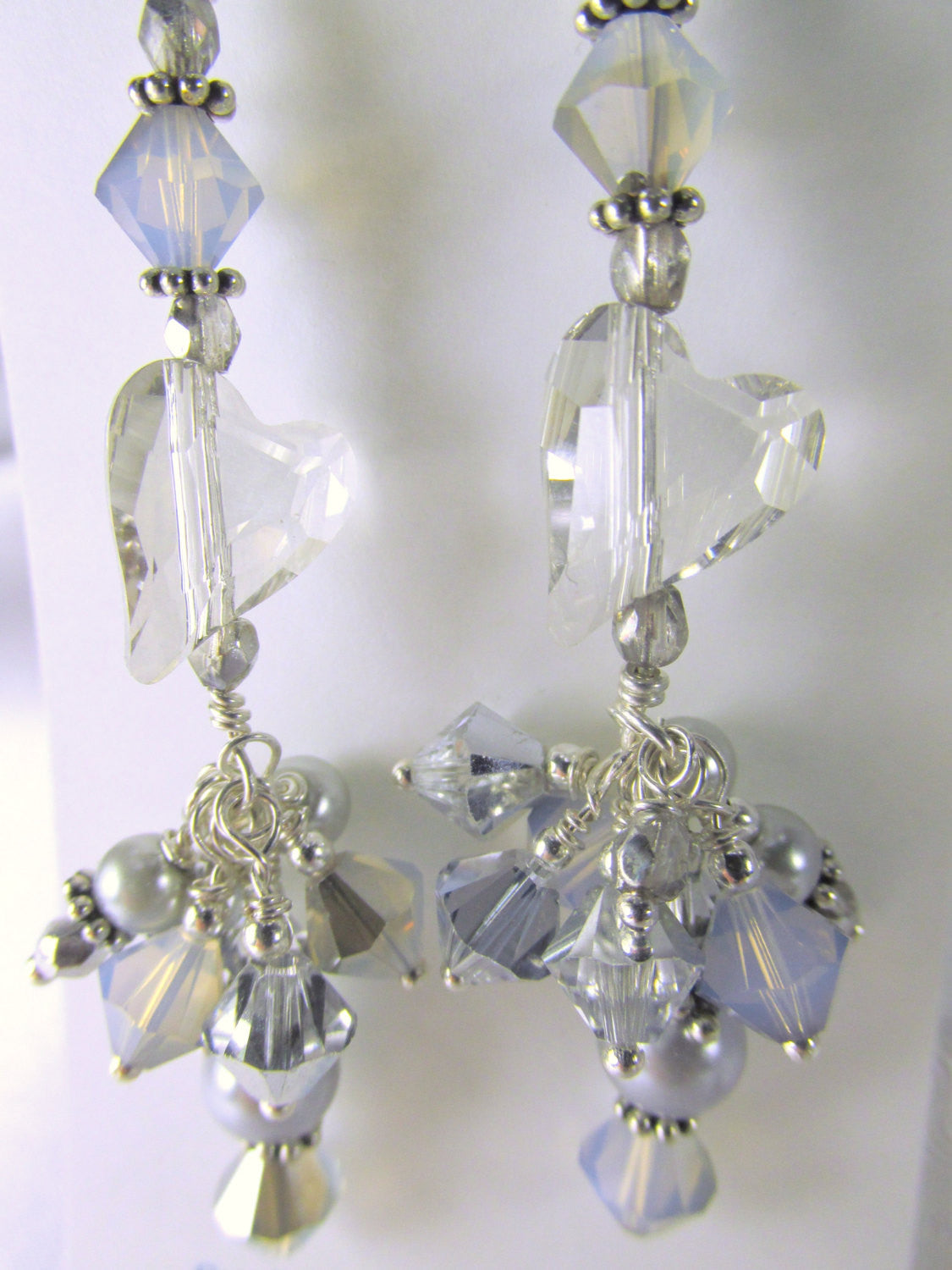 Swarovski Wild Heart Silver Shade Light Gray Earrings with Pearls on Sterling Silver - Odyssey Creations
