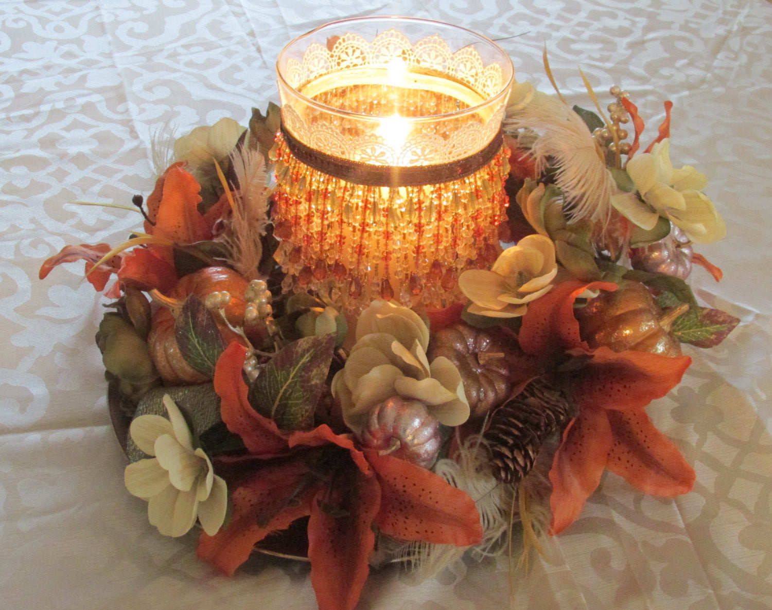 Autumn Fall Hurricane Candle Holder And Pumpkin Wreath Thanksgiving Or Odyssey Creations