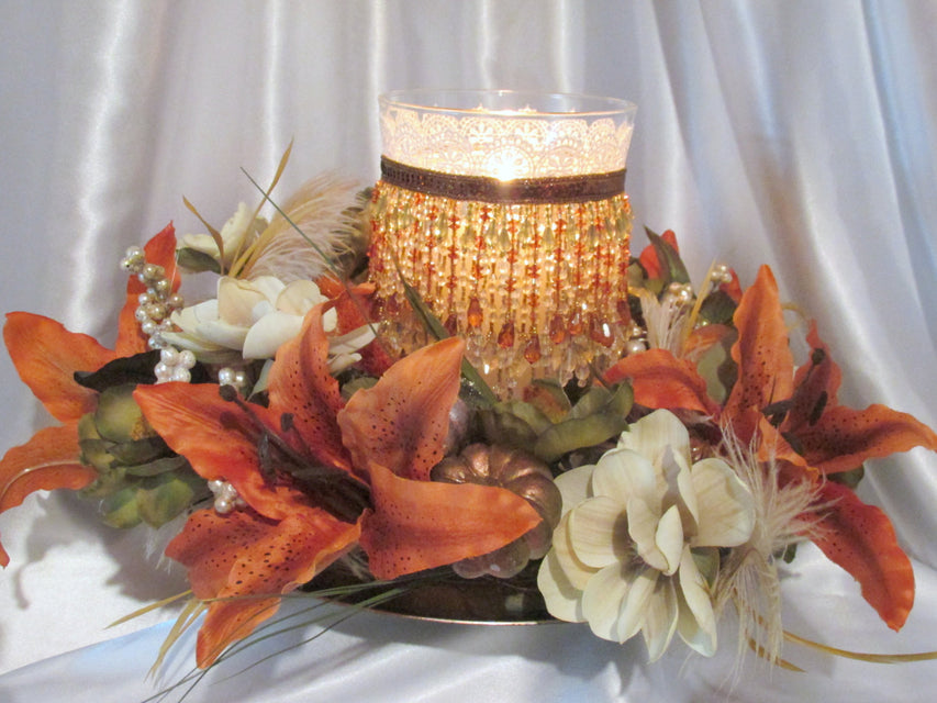 Autumn Fall Thanksgiving Large Hurricane Candle Holder and Large Pumpkin Wreath Holiday Home Decor or Wedding Centerpiece - Ready to Ship - Odyssey Creations