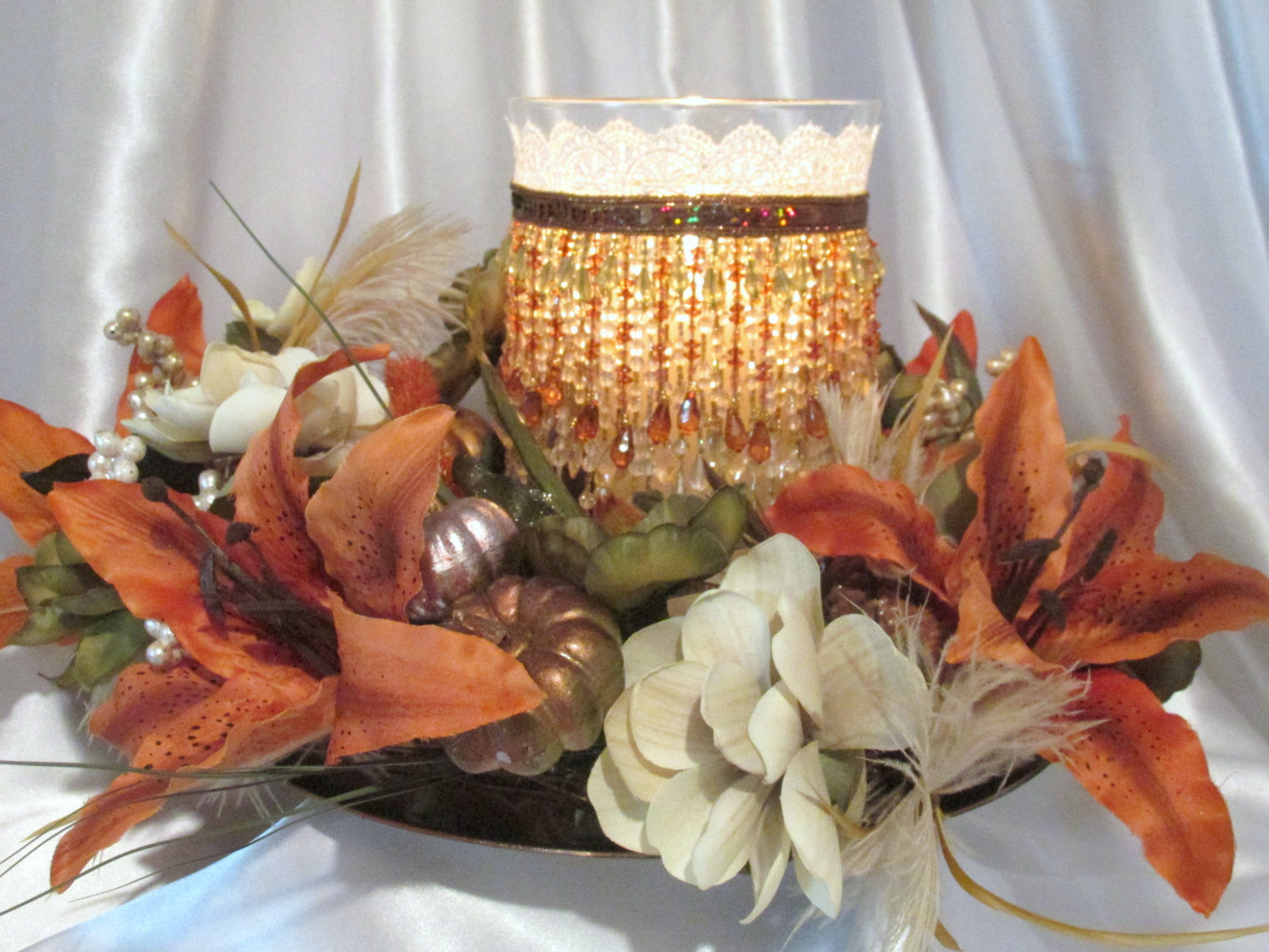 Autumn Fall Hurricane Candle Holder and Pumpkin Wreath Thanksgiving or Wedding Centerpiece - Odyssey Creations