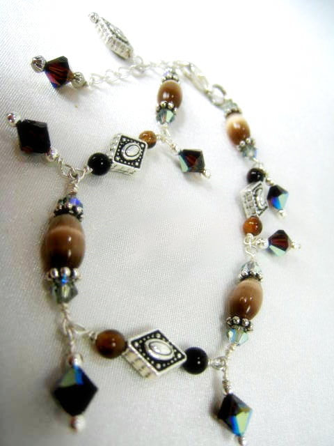 Brown Catseye, Agate and Swarovski Adjustable Sterling Silver Bracelet - Odyssey Creations