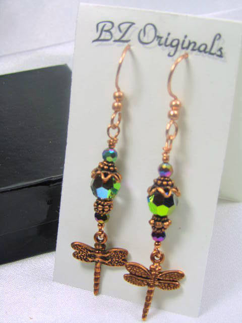 Dragonfly Earrings in Multicolor Vitrail Medium Crystals on Copper - Odyssey Creations