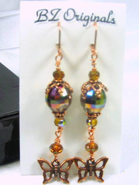 Butterfly Earrings in Multicolor Golden Vitrail Crystals and Copper - 3 inches long - Odyssey Creations
