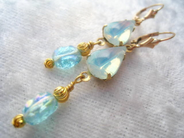 Vintage Bead Earrings in Aqua Light Opal Blue on 14k Gold Fill Leverbacks - Odyssey Creations
