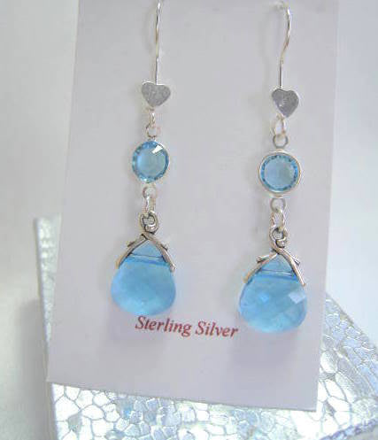 Swarovski Briolettes in Blue Turquoise Aquamarine on Sterling Silver Wires - Odyssey Creations