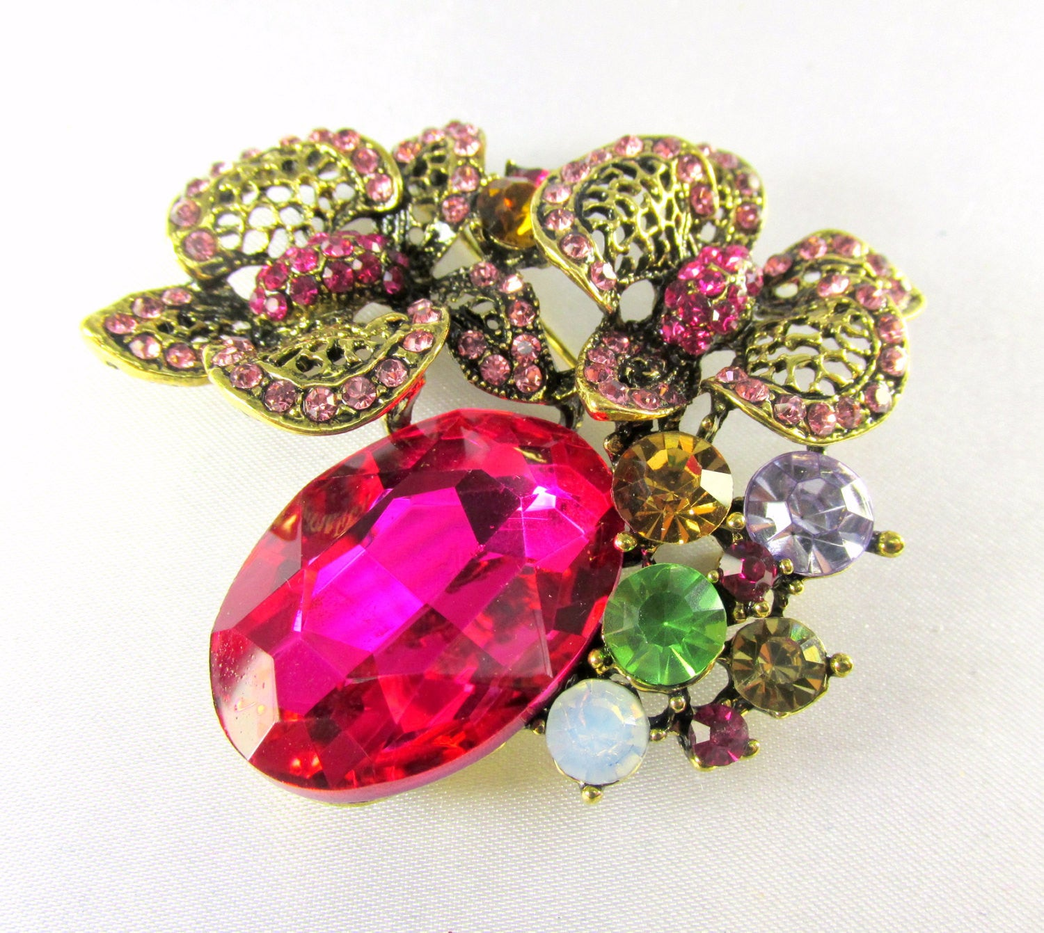 Fuchsia  Antique Gold Cluster Brooch Jewlry Pin - Odyssey Cache - 3
