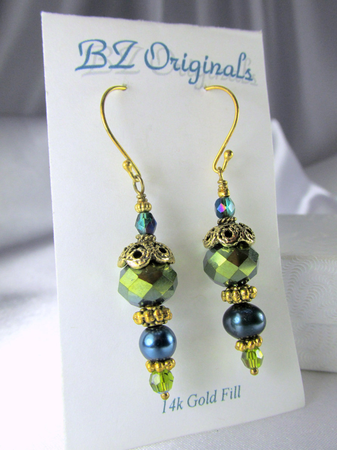 Teal and Green Pearl and Crystal Earrings on 14k gold fill wires - Odyssey Creations