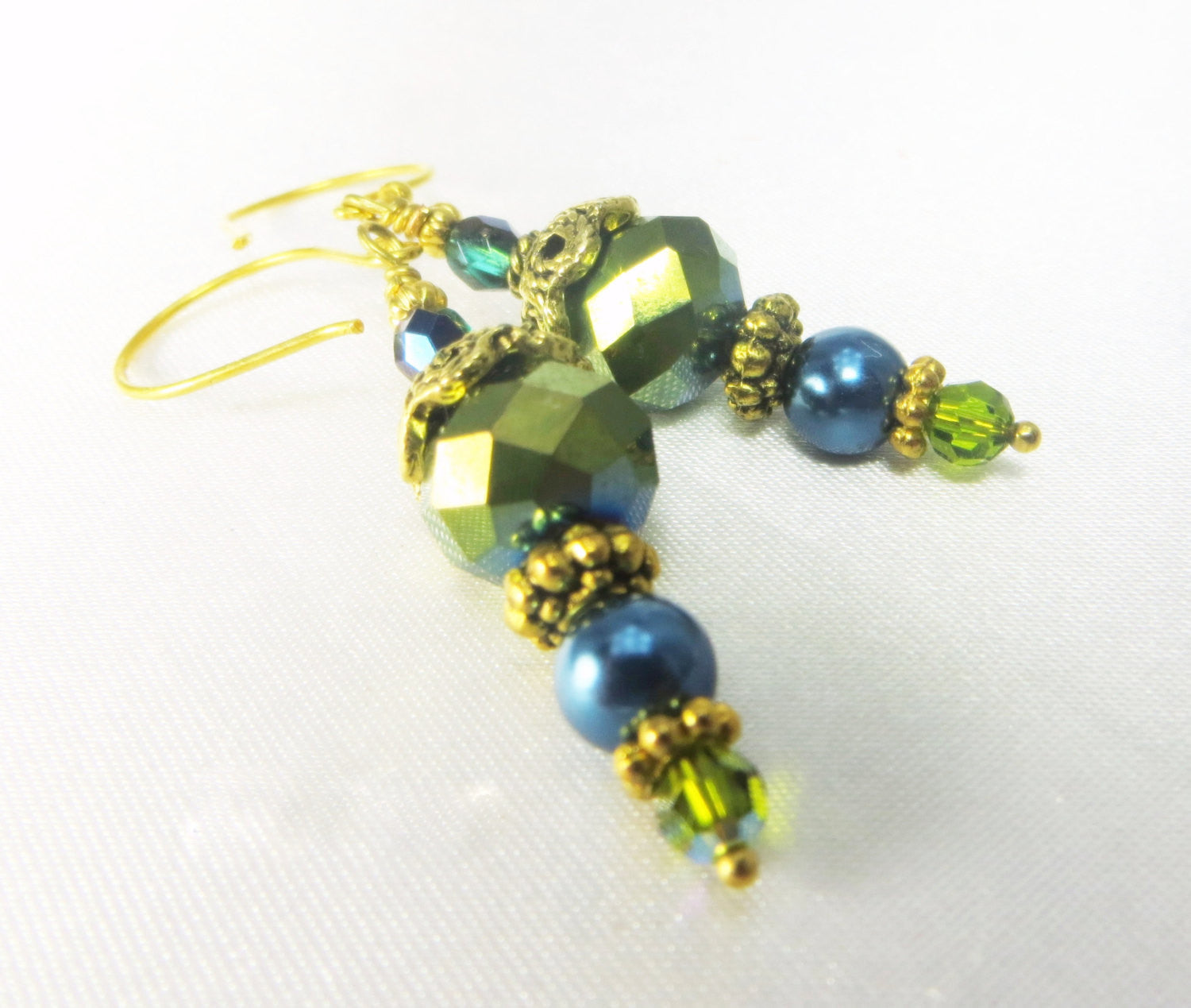 Teal and Green Freshwater Pearl and Swarovski earrings on 14k gold fill wires - Odyssey Creations