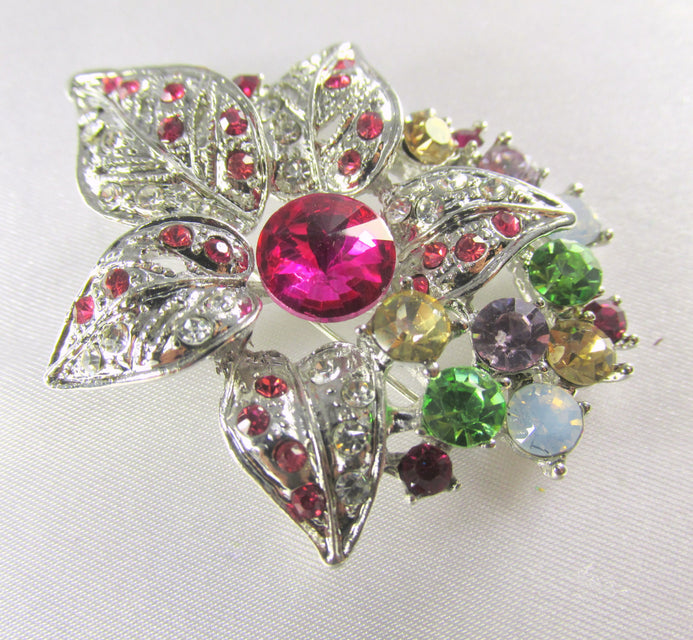 Multicolor Silver Flower Brooch with Quality Crystals in hot pink, green, yellow, white for bridal bouquet or jewelry decoration - Odyssey Cache - 1