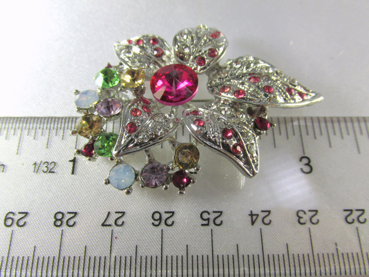 Multicolor Pink, Green, Yellow and White on Silver Flower Brooch - Odyssey Creations