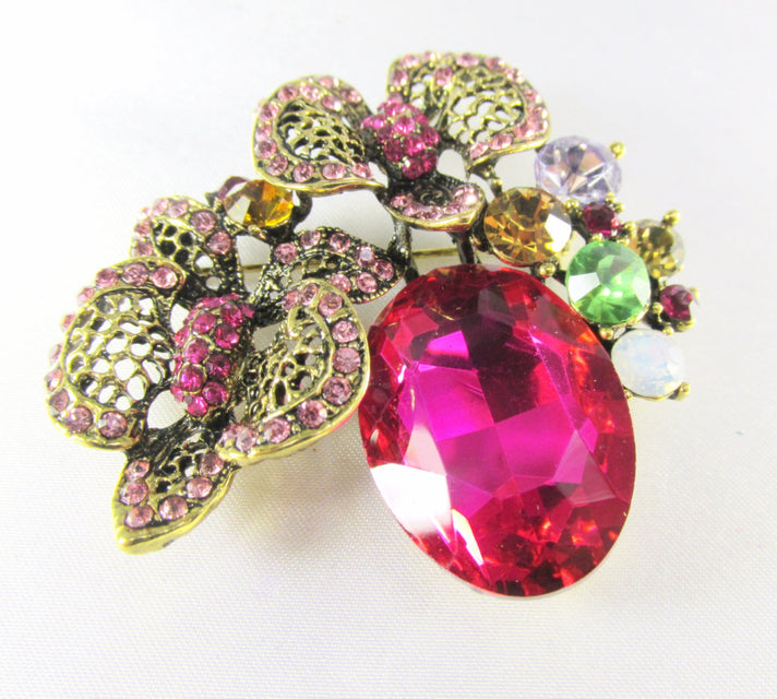 Fuchsia  Antique Gold Cluster Brooch Jewlry Pin - Odyssey Cache - 1