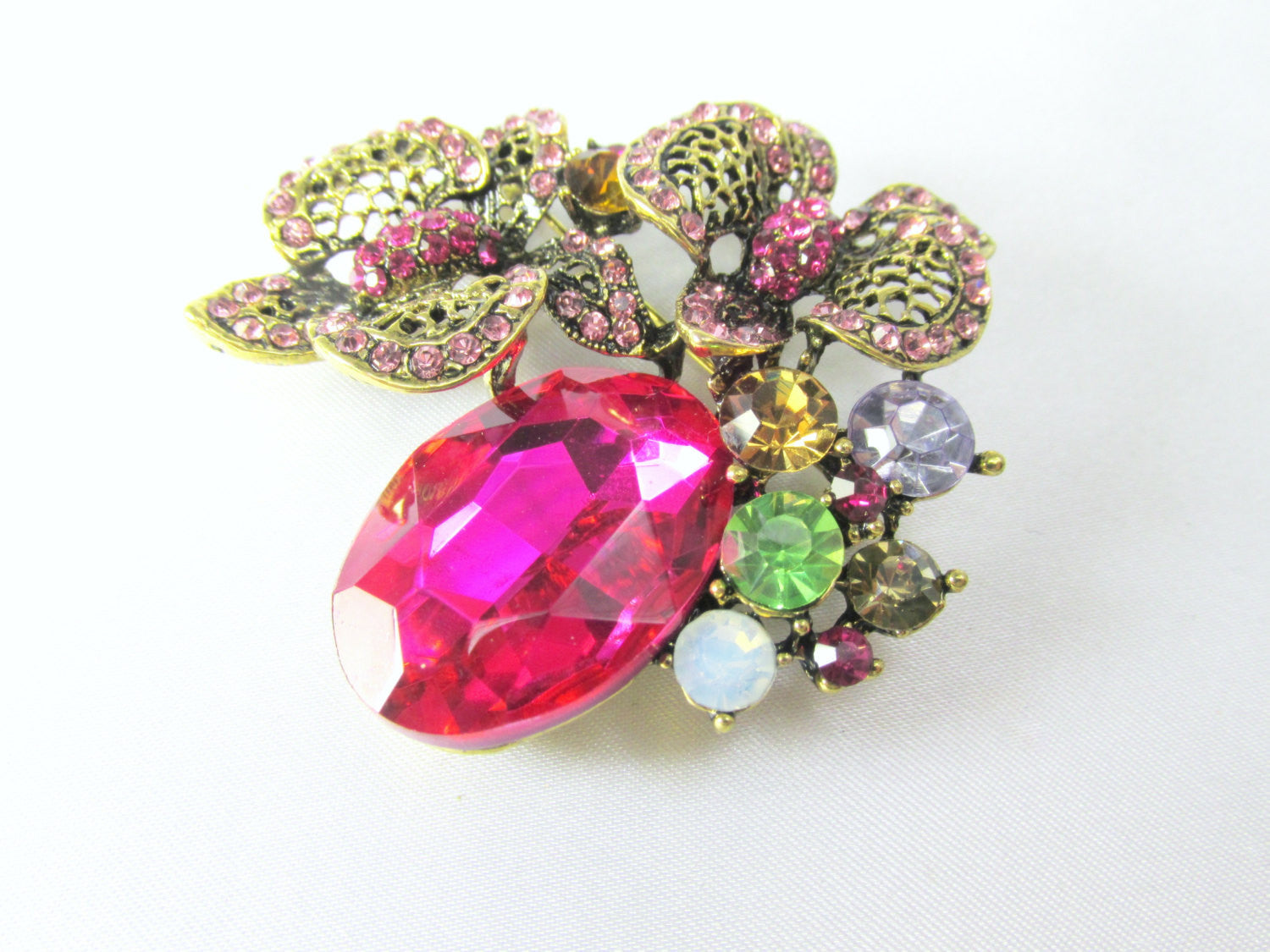 Fuchsia  Antique Gold Cluster Brooch Jewlry Pin - Odyssey Cache - 2
