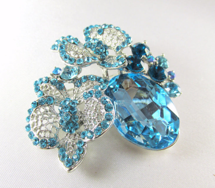Blue Turquoise Silver Cluster Brooch Pin - Odyssey Creations
