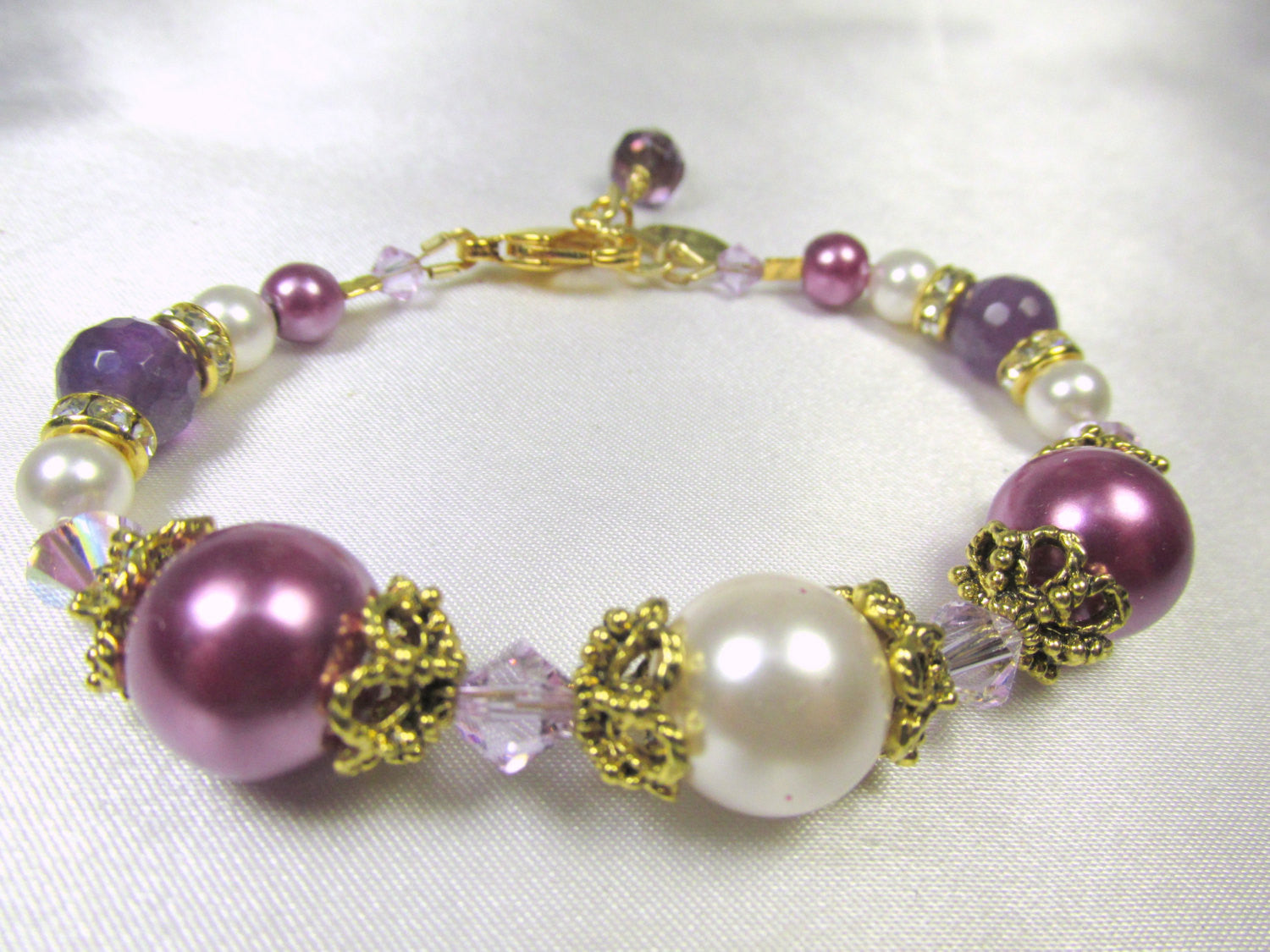 Radiant Orchid Purple Amethyst and White Swarovski Pearl and Crystal Bracelet in small size for bridal or bridesmaid - Odyssey Creations