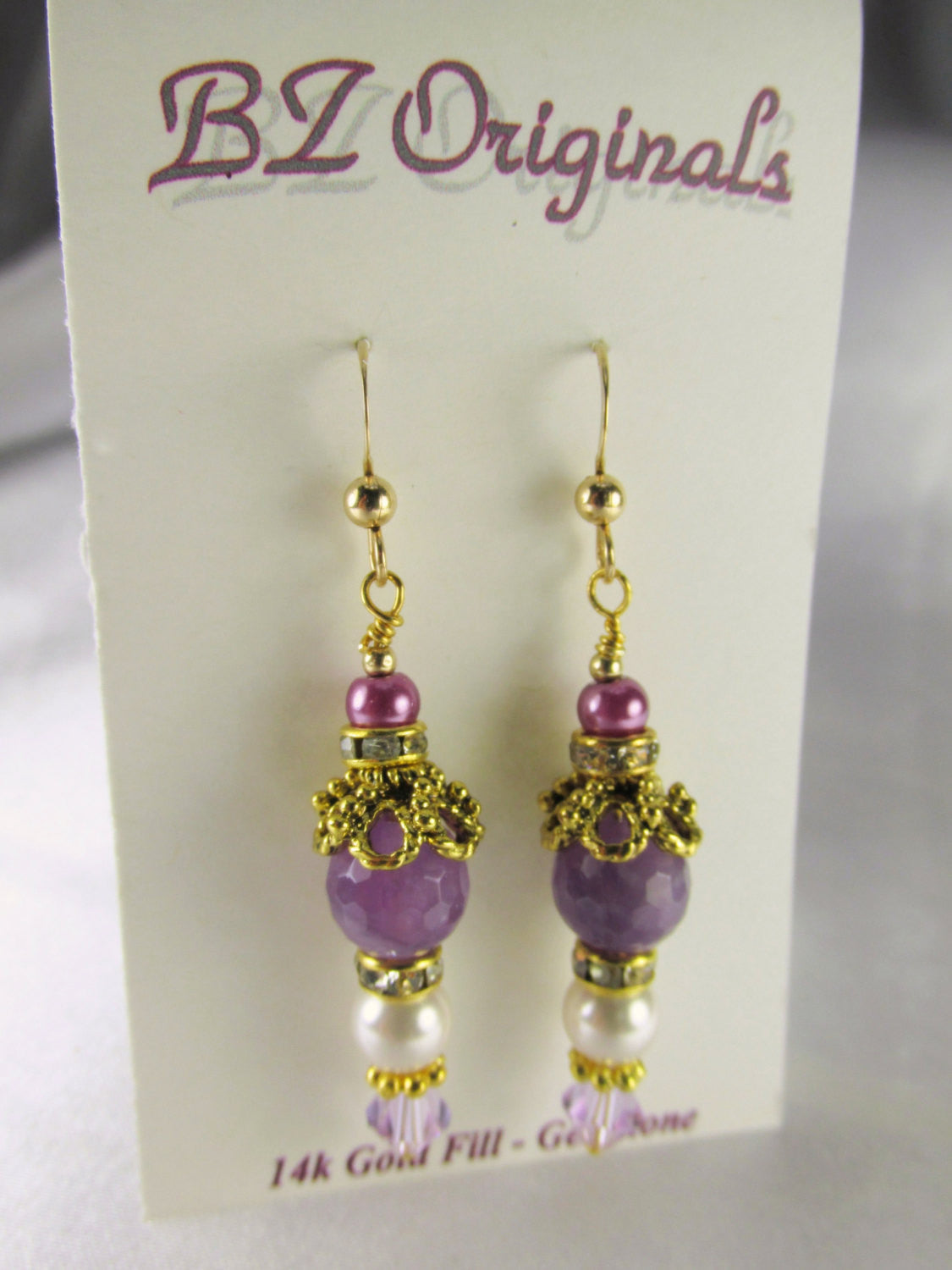 Vintage Inspired Purple Amethst Semiprecious Stone and White Swarovski Pearl Earrings - Odyssey Creations
