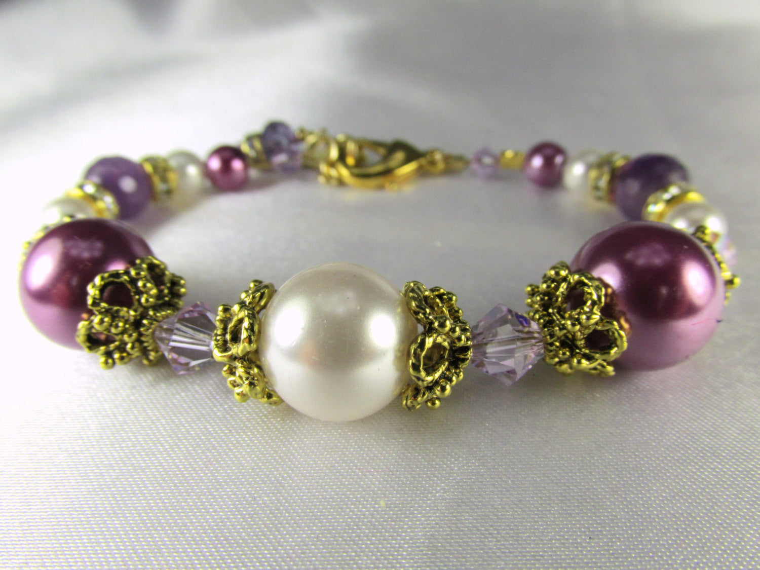 Radiant Orchid Purple Amethyst and White Swarovski Pearl and Crystal Small Bracelet - Odyssey Creations