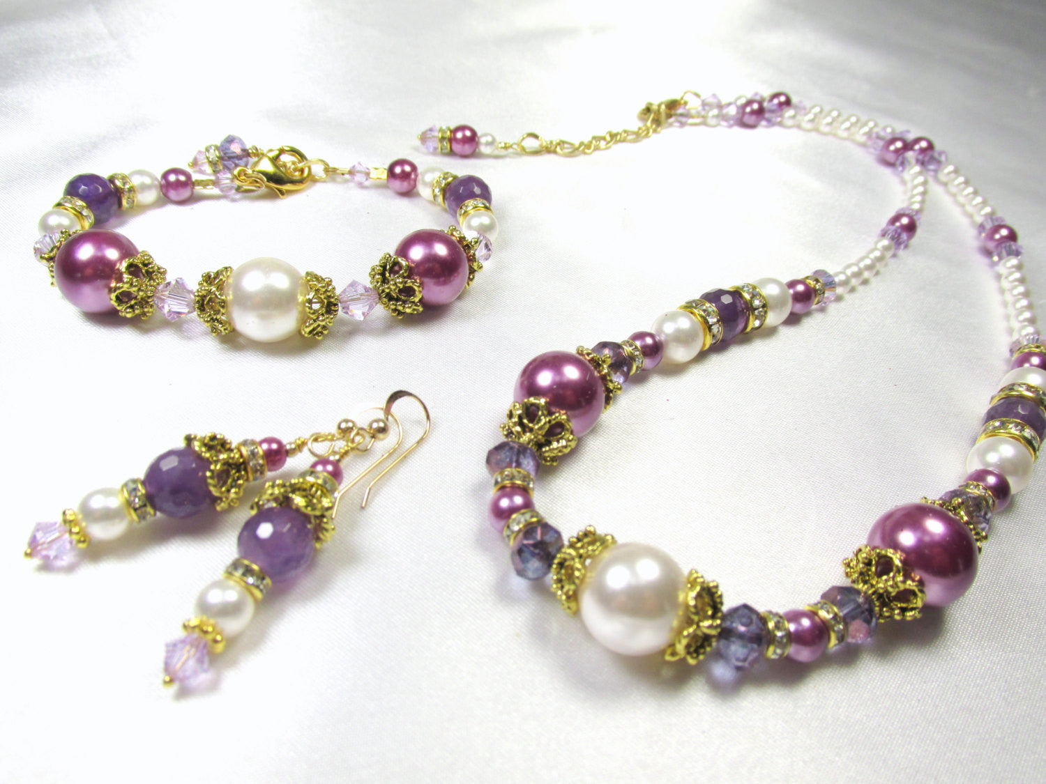 Vintage Inspired Purple Amethst and White Swarovski Pearl Earrings with Swarovski crystals in Antique Gold findings on 14k gold fill wires - Odyssey Creations