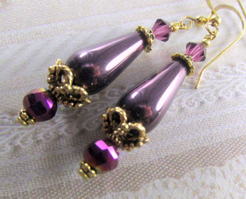 Vintage Style Plum Pearl and Antique Gold Earrings on 14k Gold Fill Earring Wires - Odyssey Creations