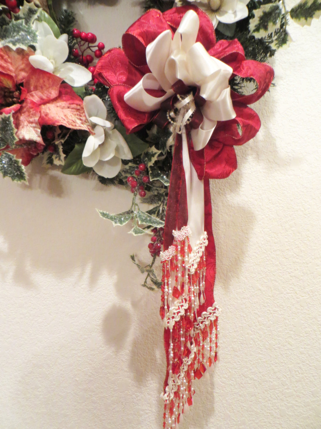 Victorian Christmas Wreath Home Decor in Red and White Poinsettias with Detailed White Pearl Beaded Fringe and Fancy Trim Bow ready to ship - Odyssey Creations