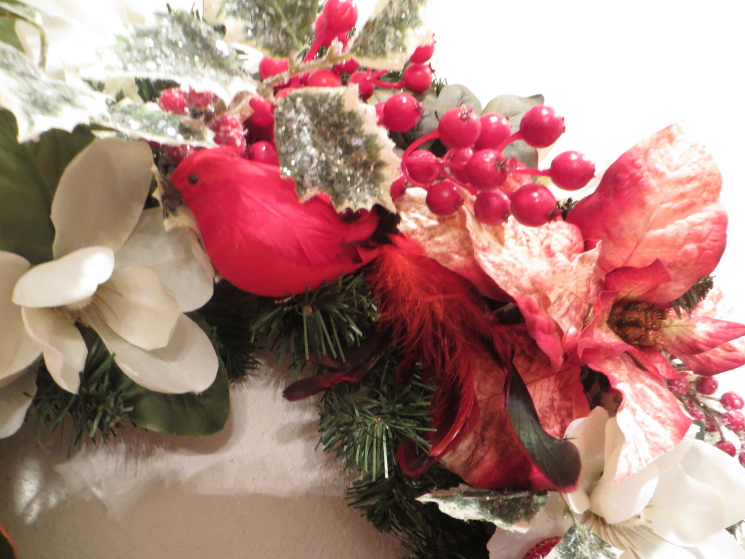 Red and White Elegant Victorian Christmas Wreath with Beaded Bow - Odyssey Creations