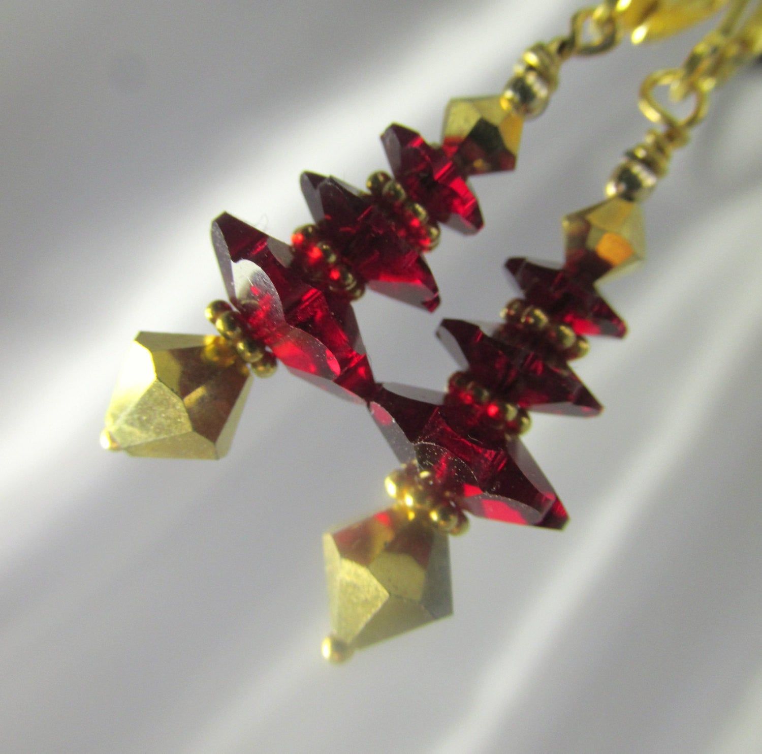 Christmas Tree Earrings in Dark Red Siam Swarovski Crystals on 14k GF leverbacks or posts - Odyssey Creations