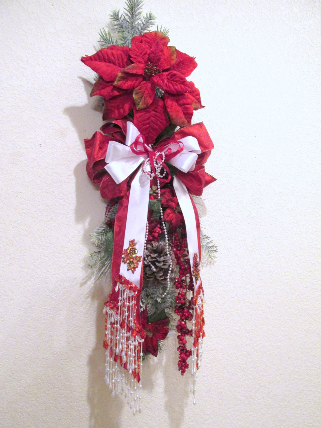 Red and Snowy White Poinsettia Elegant Victorian Style Beaded Vertical Door Swag for Christmas Wreath or Home Decor - Odyssey Creations