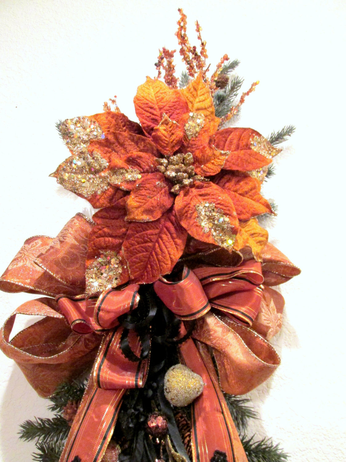 Rust, Gold and Black Victorian Beaded Vertical Door Swag Wreath for Holiday Decor or Home Decor - Odyssey Creations