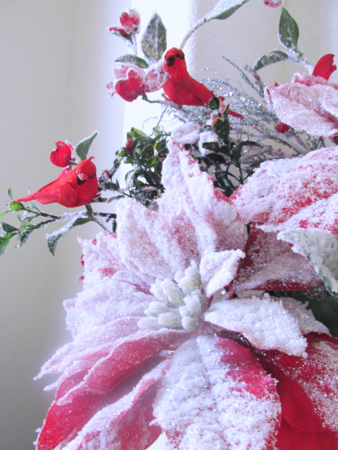 Christmas Holiday Decor Victorian Floral Centerpiece Arrangement with Tall Red Cardinals, Snowy Red and White Poinsettias and beaded fringe - Odyssey Creations