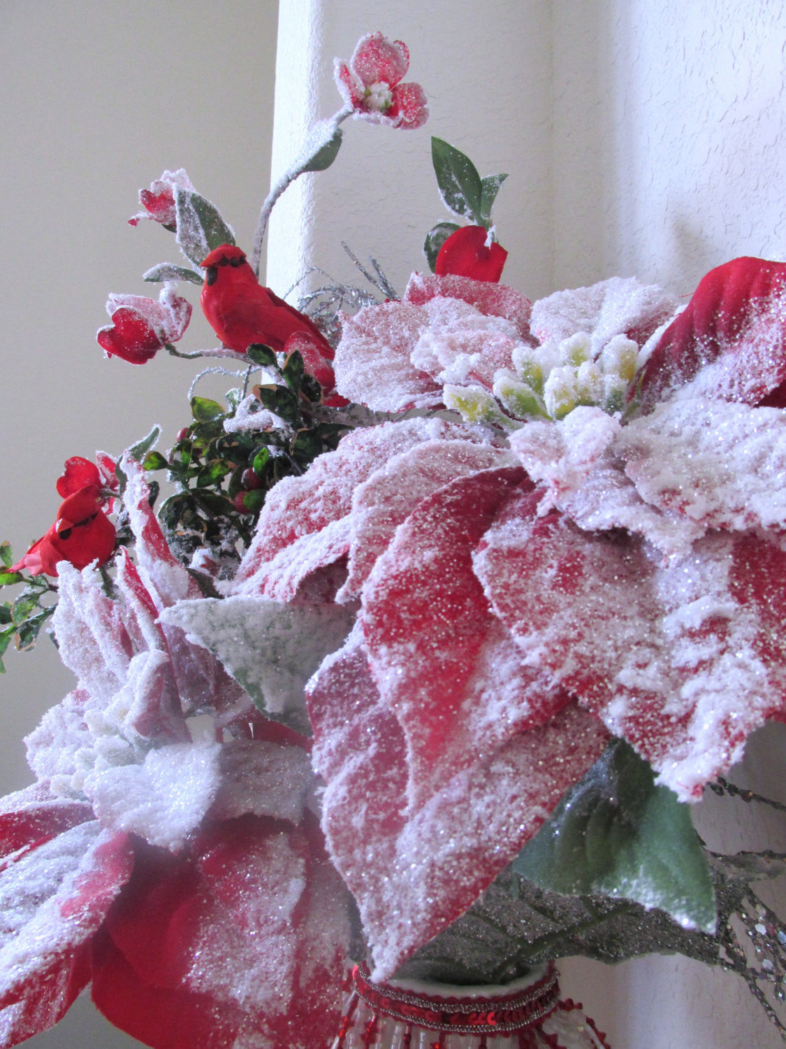 Christmas Holiday Decor Beaded Victorian Floral Centerpiece Arrangement with Cardinals - Odyssey Creations