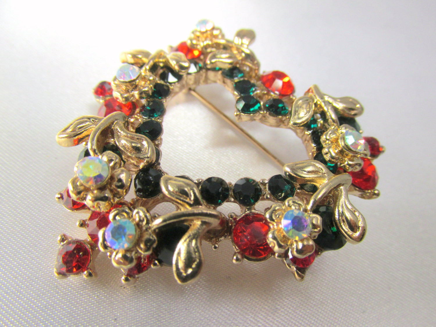 Christmas Heart Wreath Brooch in Green, Red, Crystal AB and Gold - Odyssey Creations