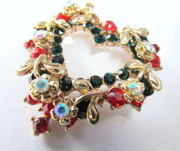 Christmas Heart Wreath Brooch in Green, Red, Crystal AB and Gold - Odyssey Cache - 1