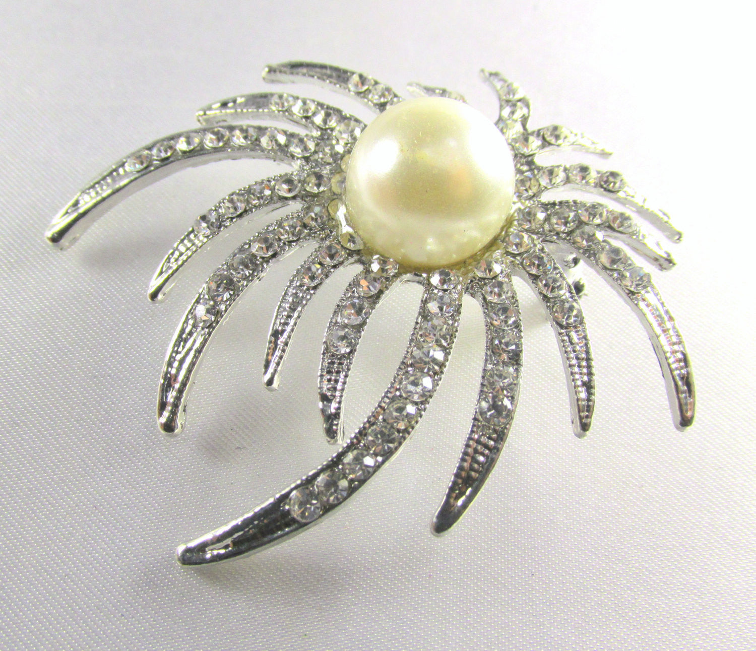 Silver Ivory White Pearl and Crystal Sunburst Brooch - Odyssey Cache - 2