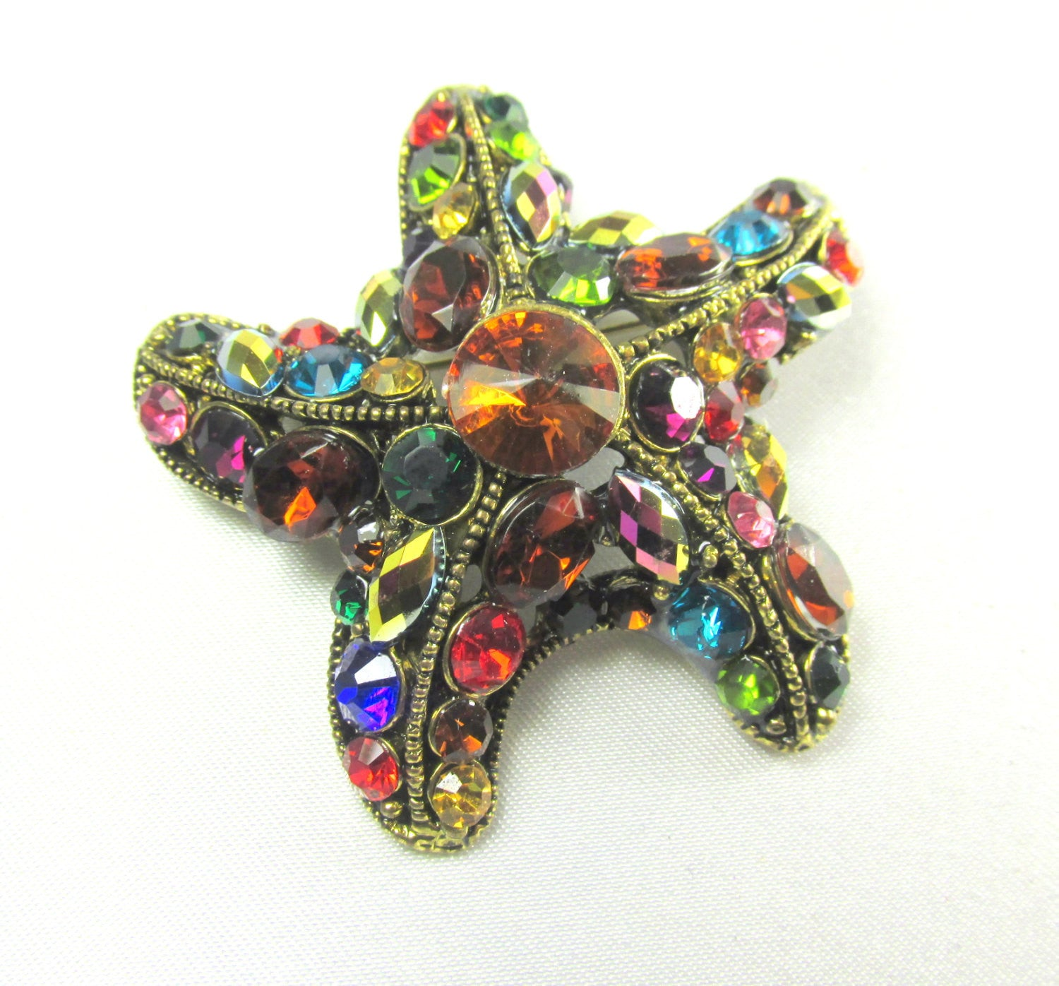 Multicolor Starfish Brooch in Antique Gold - Odyssey Cache - 1