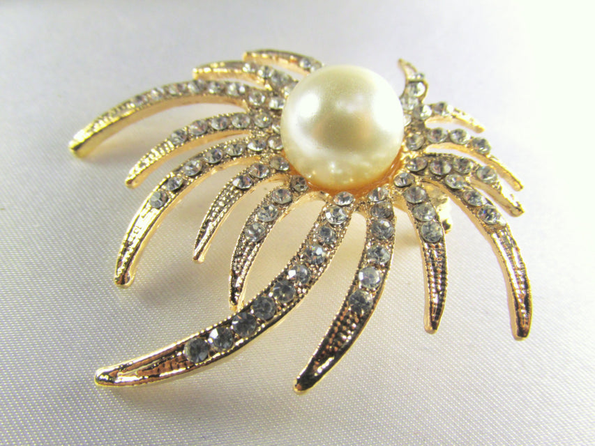 Ivory White Pearl and Clear Crystals on Gold Sunburst Brooch - Odyssey Cache - 1