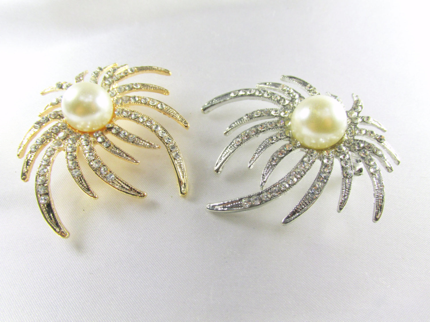 Ivory White Pearl and Clear Crystals on Gold Sunburst Brooch - Odyssey Creations