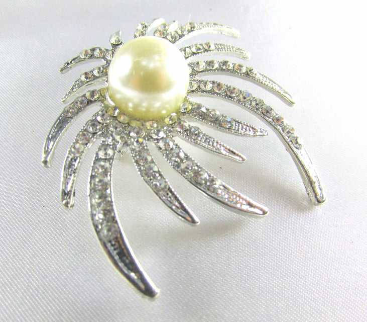 Silver Cream Pearl and Crystal Sunburst Brooch - Odyssey Creations