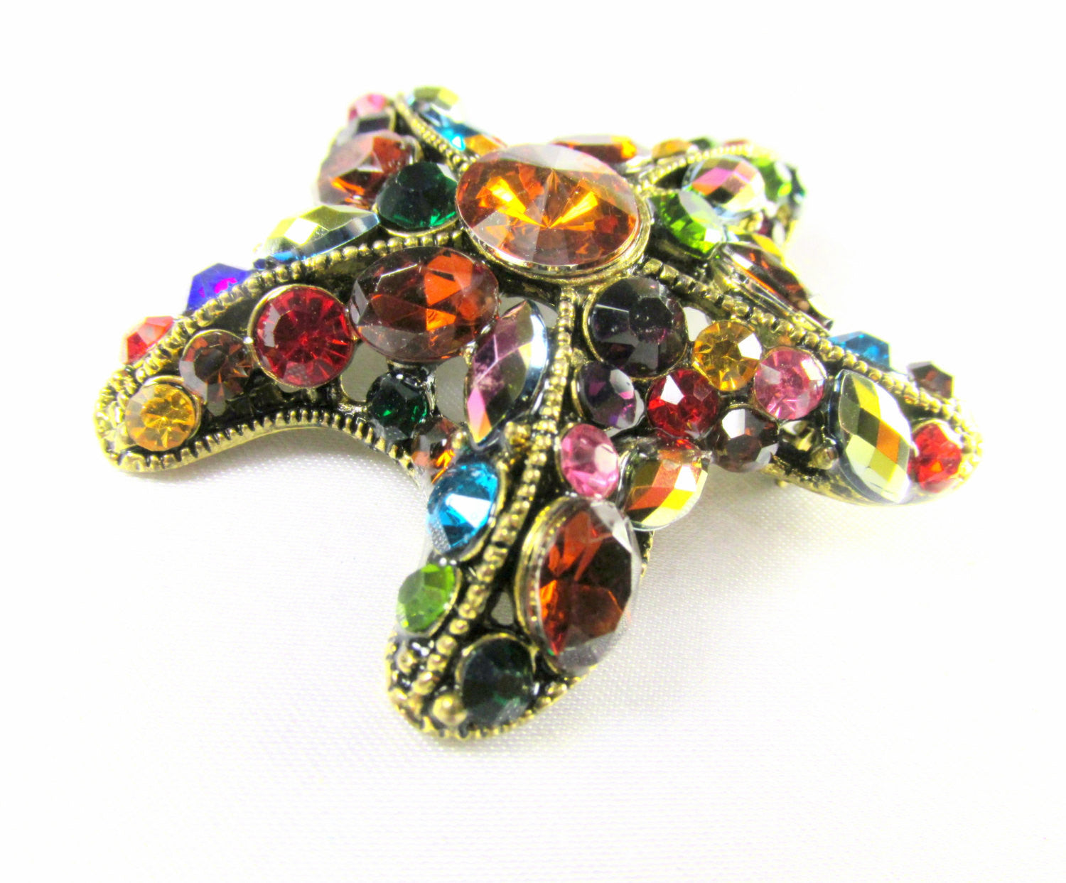Multicolor Starfish Brooch in Antique Gold - Odyssey Cache - 4