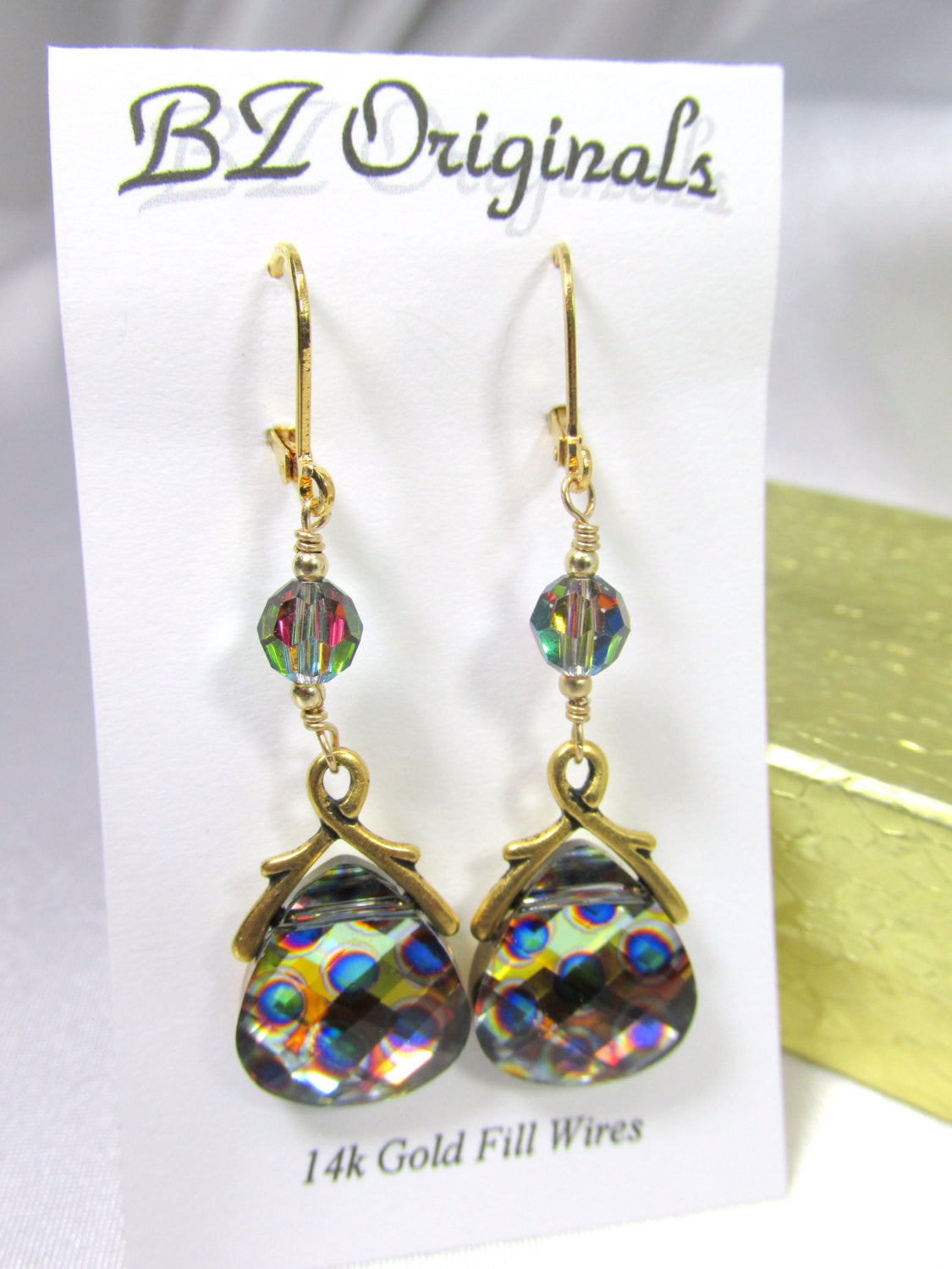 Swarovski Peacock Briolette Earrings with Vitrail Medium Crystals on 14k gold fill leverbacks - Odyssey Creations