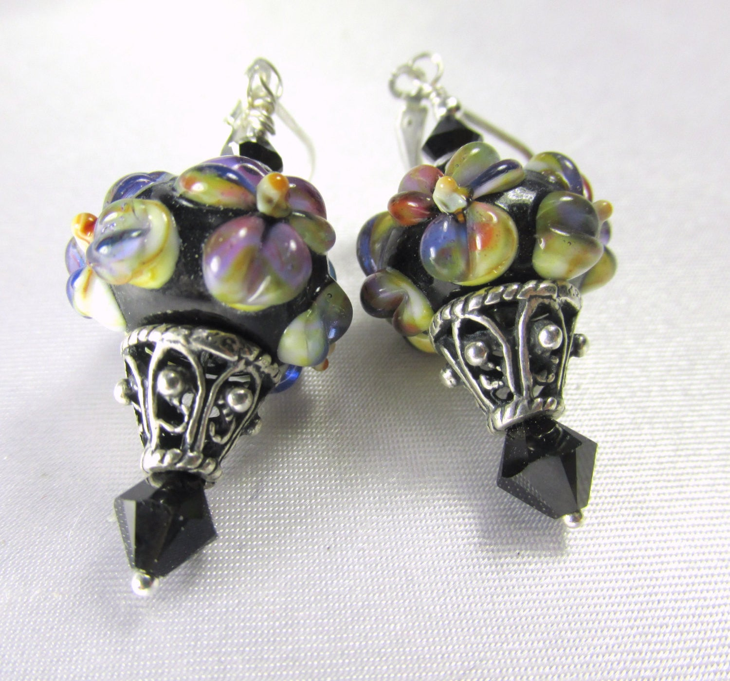 Bali Sterling Silver Lampwork Glass Black, Purple, Green Floral Earrings with Swarovski Crystals - Odyssey Creations