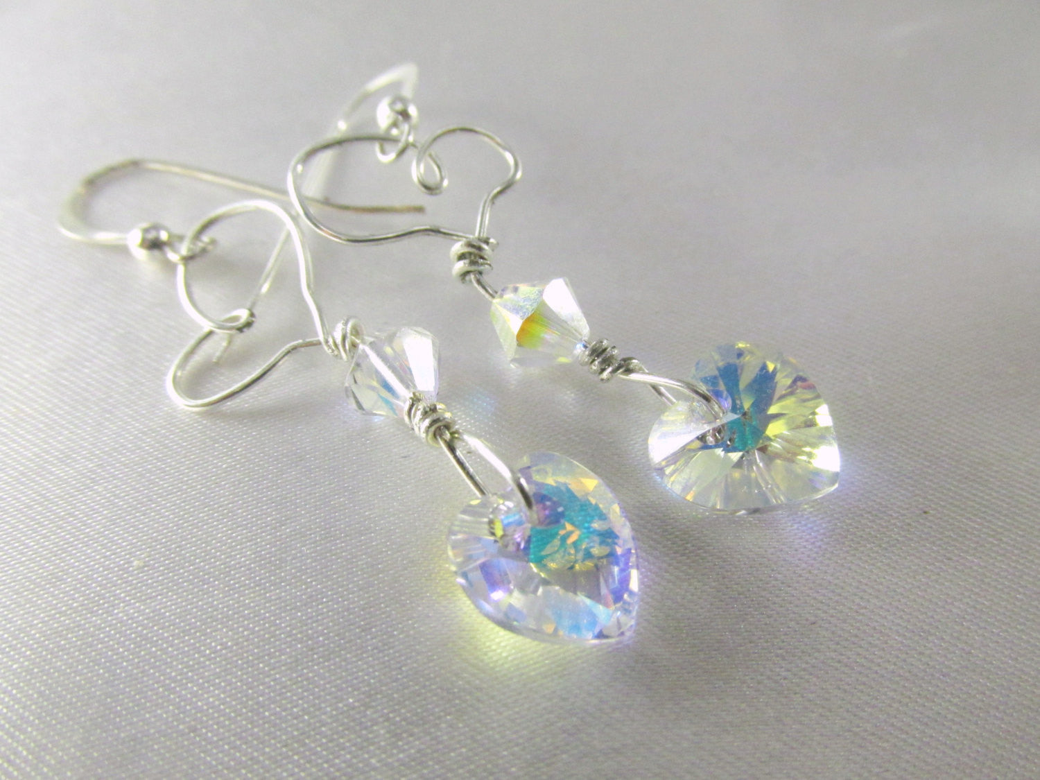 Crystal AB wired Swarovski Heart Earrings on fine sterling silver - Odyssey Creations