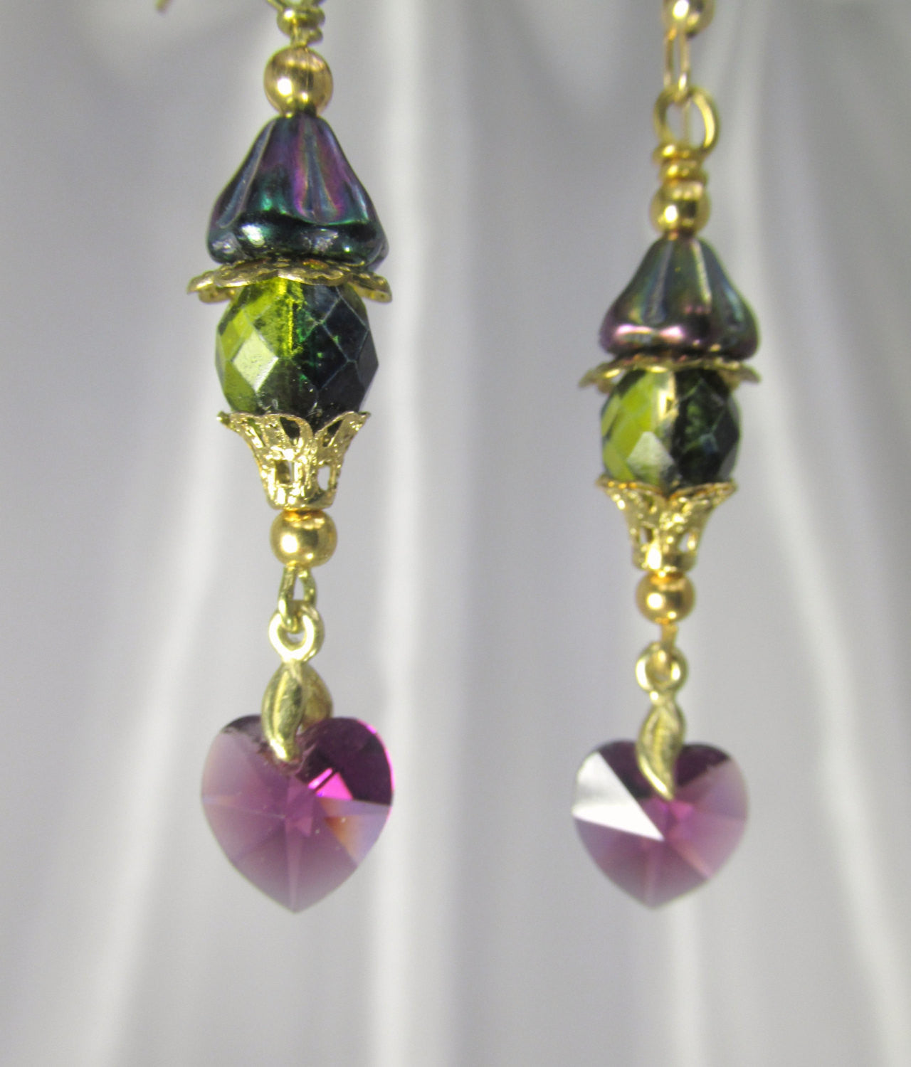 Purple Amethyst Swarovski Heart Earrings with Two Tone Green Teal Czech on 14k gold fill wires - Odyssey Creations