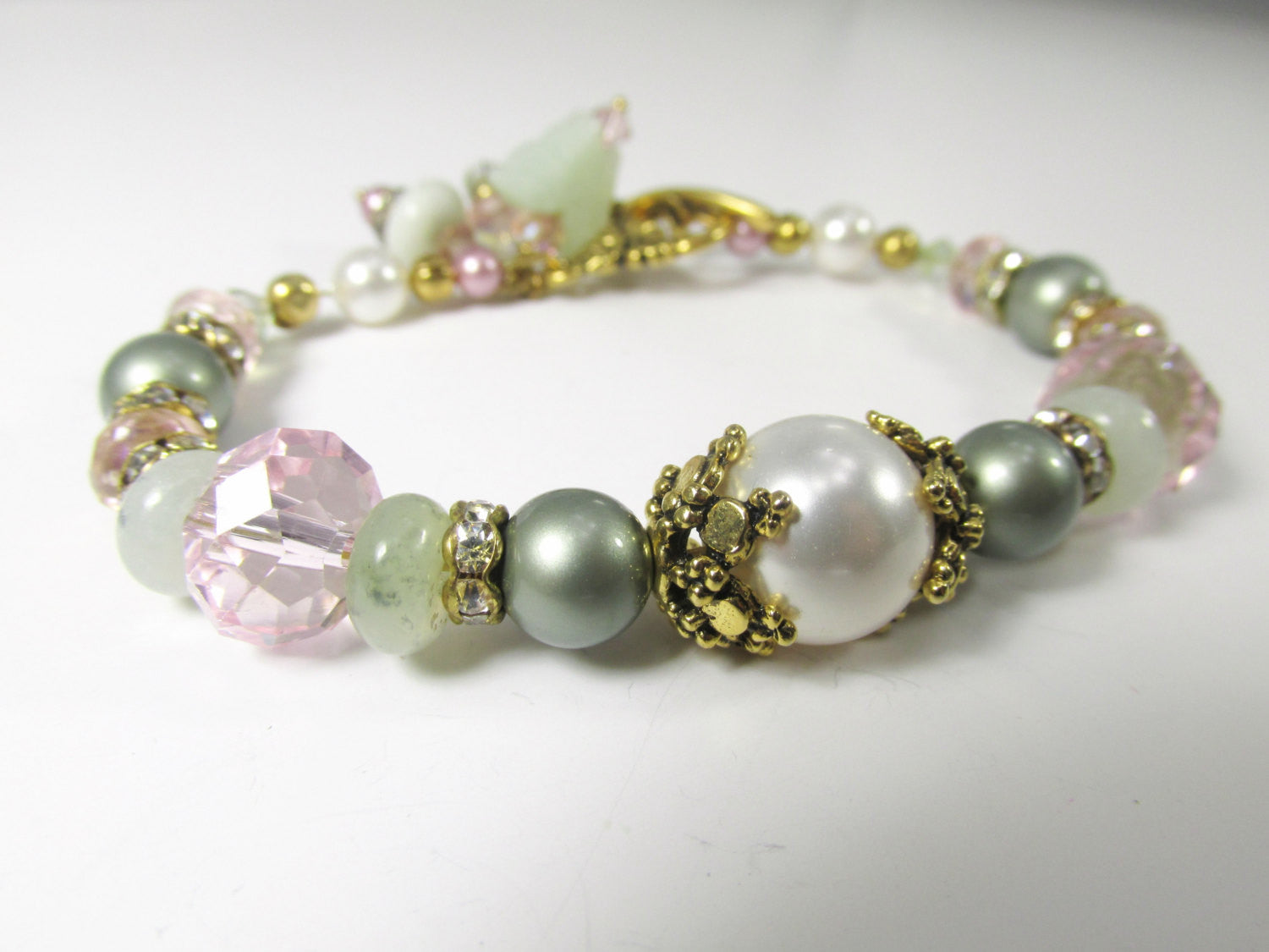 Pale Green, Pink, White Swarovksi Pearl & Jade Butterfly Charm Bracelet on Gold - Odyssey Creations